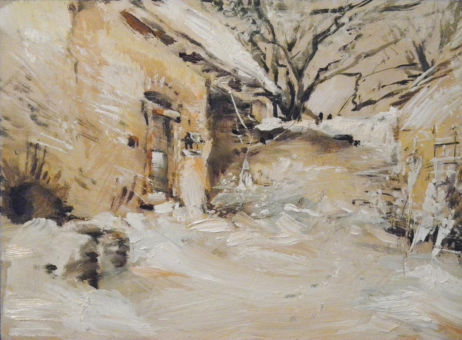 Obraz Zasněžený dvůr akademický malíř Jan Řeřicha Cardamine