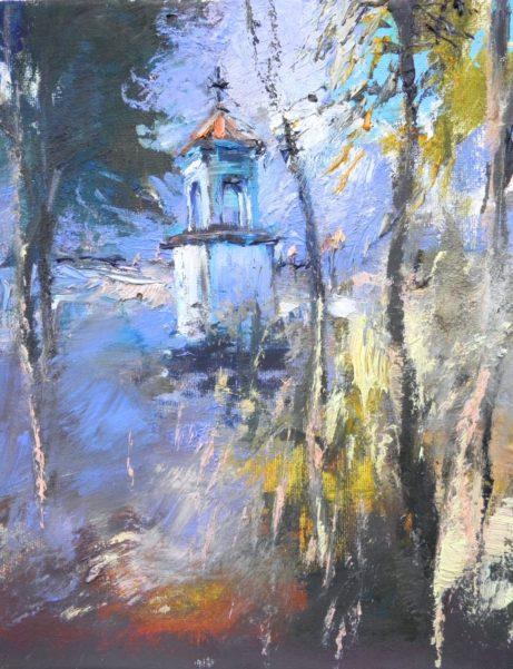 Obraz Boží muka Svatého Rocha vLukavci, akademický malíř Jan Řeřicha Cardamine, 2017, krajina
