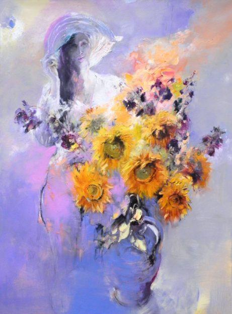 Obraz Dívka aslunečnice, akademický malíř Jan Řeřicha Cardamine, olejomalba, portrét, květiny
